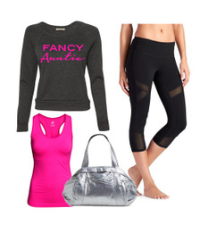 Exclusive #1 Selling Fancy Auntie Sweatshirt in Tri Black with Hot Pink writing.  Gym Outfit.  Gifts for Auntie, Auntie Present, Best Aunt Gifts, Auntie TShirt, Aunt T Shirt, I Love My Aunt Sparkly Top, Special Auntie Gift, Baby Announcement for Aunt, Gender Reveal Ideas.
