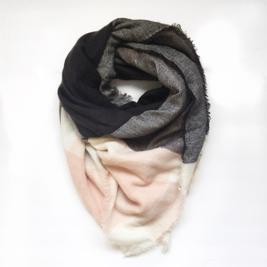 Pink & Grey Oversized Blanket Scarf