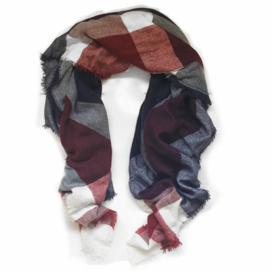 Navy & Burgundy Oversized Blanket Scarf