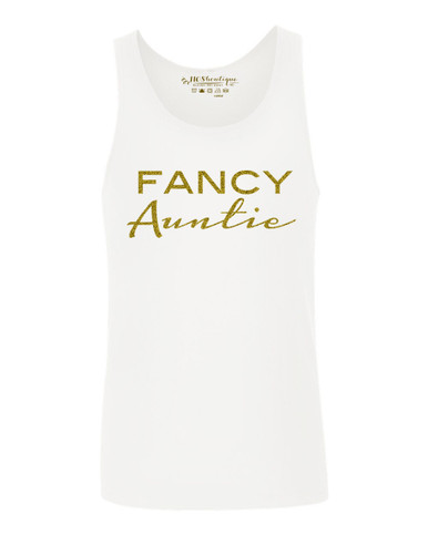 Exclusive Fancy Auntie White Tank Top