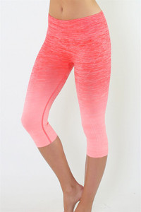 Coral & Pink Ombre Crop Workout Pant.  Women's Yoga Leggings, Patterned Yoga Pant, Yoga Clothing, Yoga Wear, Women's Gym Clothes, Workout Leggings.