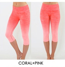 Coral & Pink Ombre Crop Pant - Yoga, Cardio, Weight Training, Zumba, Pilates