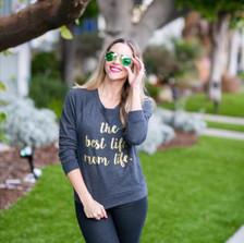 """the best life. mom life. "" Women's Raglan Sweatshirt in Black.  (See item here http://www.shop1108.com/the-best-life-mom-life-womens-raglan-sweatshirt/)."