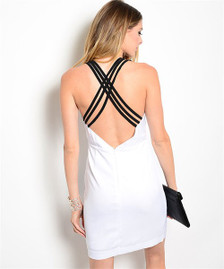 This bodycon dress features a plunging v-neckline and sexy crisscross strappy back.