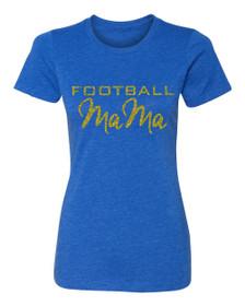 Football Mama Crew Neck T-shirt in Royal Blue