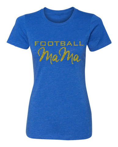 Football Mama Crew Neck T-shirt in Royal Blue