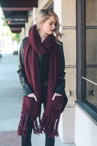 Chunky Tassel Scarf with Pockets
