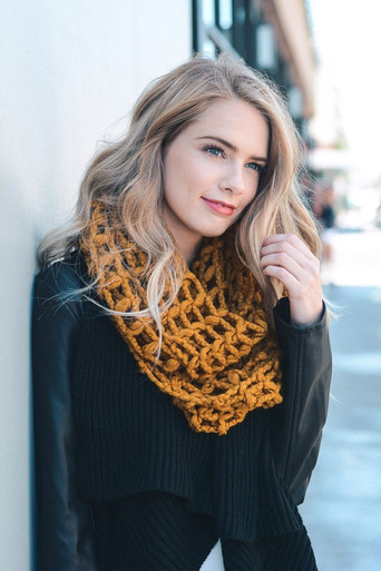 Mustard Infinity Waffle Scarf 1108 Boutique
