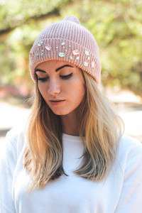 Rhinestone Winter Beanie in Blush Pink with Colored Jewels