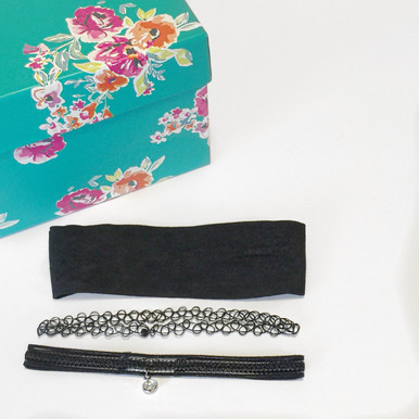 Bundle Set:  Black Chokers with lace, stretch and rhinestone details.