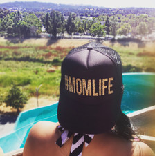 #Mom Life Trucker Hat Gold Glitter