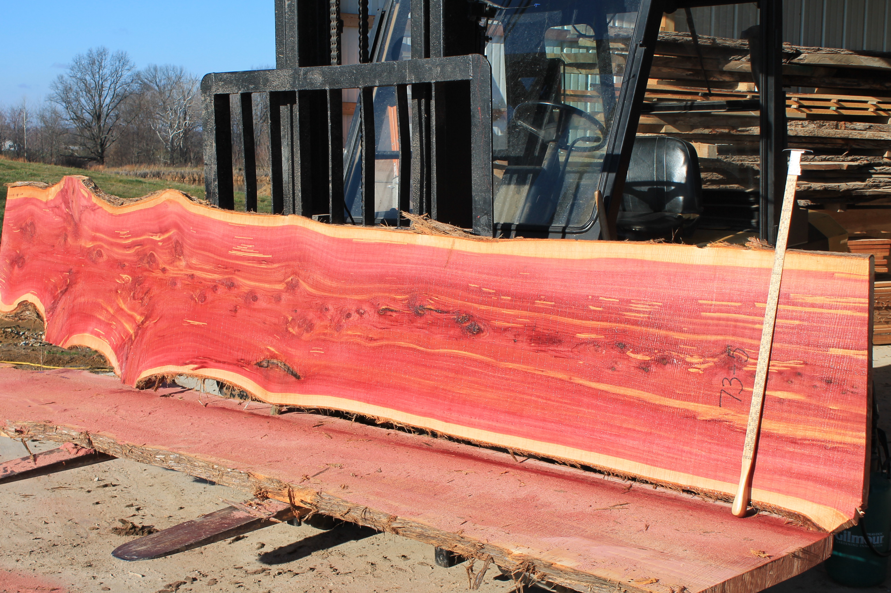 Rough cut cedar boards