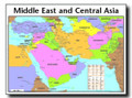 Middle East and Central Asia Map Wall Chart - Laminated