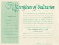Certificate of Ordination - Ministers ($1.00 each)