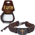 "Bracelet ""Faith"" Brown Leather Cross"