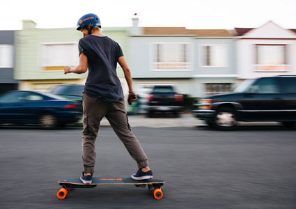 Cruising on the Boosted electric longboard