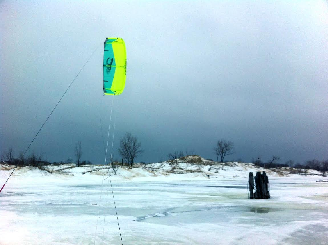 A view of the 2015 Cabrinha FX while snowkiting