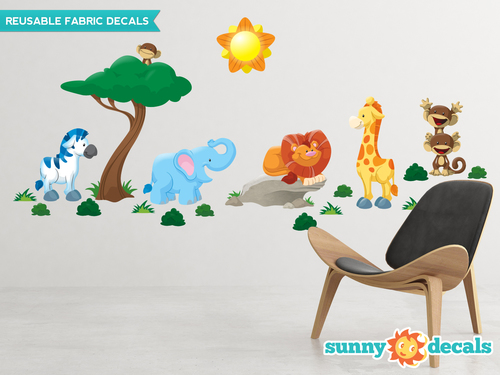 Jungle Fabric Wall Decals   Monkey, Lion, Giraffe, Zebra, Tree   Sunny  Decals