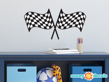 Racing Checkered Flags Fabric Wall Decal - Sunny Decals