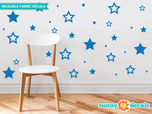 Stars fabric wall decals - set of 52 stars - Sunny Decals