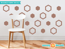 Hexagon Fabric Wall Decals - Honeycomb Pattern Wall Decor - Sunny Decals