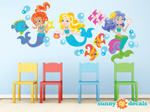 Mermaid Fabric Wall Decals, Under the Sea Theme - Jumbo Sized - Sunny Decals