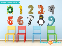 Animal Numbers Fabric Wall Decals, Colorful Numbers from 0 to 9 - Sunny Decals