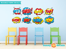 Superhero Fabric Wall Decals, Set of 8 Comic Book Word Bursts - Sunny Decals