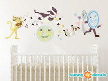 Nursery Rhyme Fabric Wall Decal, Hey Diddle Diddle, The Cat and the Fiddle - Sunny Decals