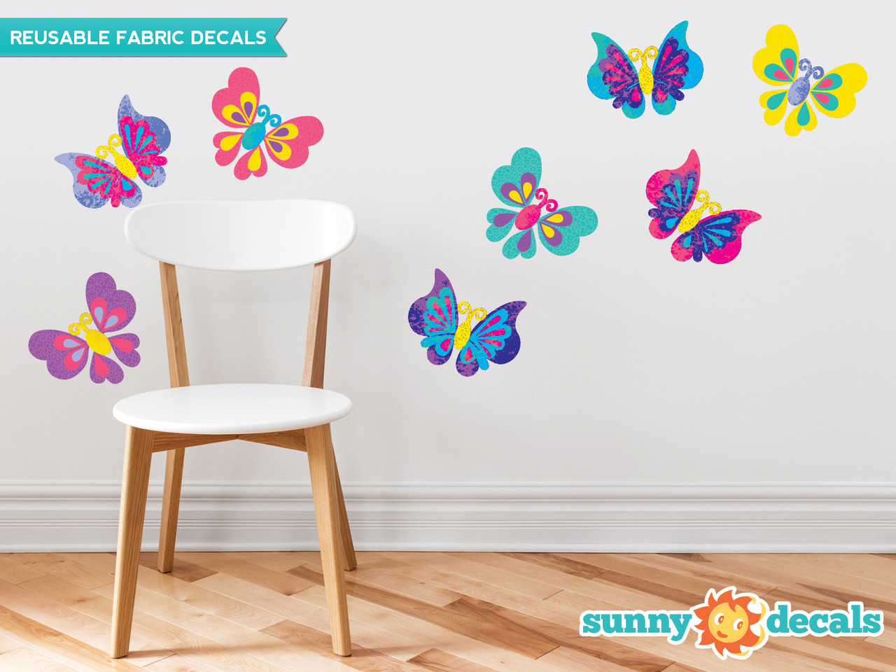 Butterfly Fabric Wall Decals, Set of Eight Beautiful Butterflies in Various Colors and Patterns -
