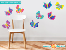 Butterfly Fabric Wall Decals, Set of Eight Beautiful Butterflies in Various Colors and Patterns - Sunny Decals