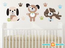 Puppy Dogs Fabric Wall Decals, Set of Three Adorable Puppies with Paw Prints - Sunny Decals