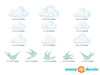 Modern Clouds Fabric Wall Decals with Birds, Set of 9 Clouds and 5 Birds - Detailed - Sunny Decals