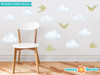 Modern Clouds Fabric Wall Decals with Birds - Green - Sunny Decals