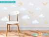 Modern Clouds Fabric Wall Decals with Birds - Yellow - Sunny Decals