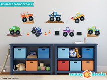 Monster Trucks Fabric Wall Decals, Set of 7, Available in 3 Sizes - Sunny Decals