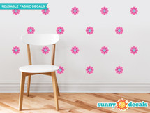 Flower Fabric Wall Decals - Set of 28 Flower Pattern Decals - Pink - Sunny Decals
