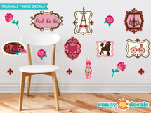 Paris Farbric Wall Decals, French Chic Wall Decor with Framed Designs of Eiffel Tower, Fleur De Lis, Roses and More - Sunny Decals