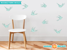 Modern Birds Wall Decals, Set of 10 Birds - Aqua - Sunny Decals