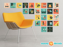 Hipster Alphabet Fabric Wall Decals - 25 Letter Boxes - Large - Sunny Decals