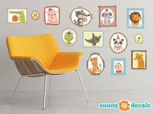 Framed Animal Pictures Fabric Wall Decals - Set of 13 Adorable Animals - Sunny Decals