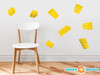 Projecting Building Block Bricks Fabric Wall Decals - Yellow - Sunny Decals
