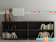 "Polka Dot Fabric Wall Decal - Set of Two 25"" x 5"" Sections - Rainbow - Sunny Decals"