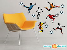 Soccer Fabric Wall Decals - Set of 3 Large Soccer Players and 3 Balls - Football Wall Art - Sunny Decals