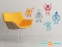Robot Fabric Wall Decals - Set of 5 Hand Drawn Robots - Sunny Decals