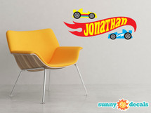 Personalized Race Car Ribbon Fabric Wall Decal - Custom Name Wall Art with 2 Race Cars - Sunny Decals