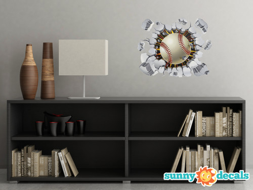 Baseball Bursting Through Fabric Wall Decal - Softball Wall Sticker - Sunny Decals
