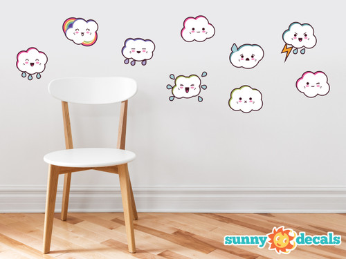 Cloud Emoji Fabric Wall Decals - Set of 9 Emoticon Clouds - Sunny Decals
