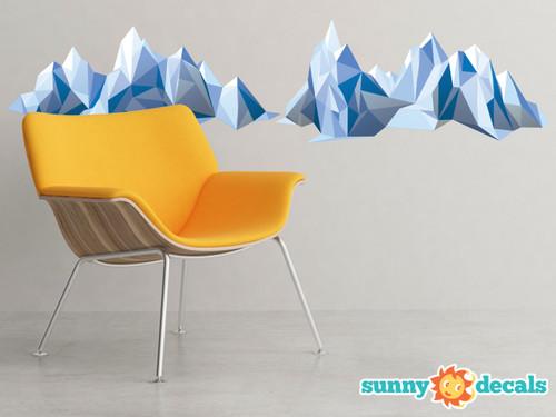 Geometric Mountain Fabric Wall Decal - Modern Mountain Range Wall Art - Sunny Decals