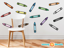 Crayon Fabric Wall Decals - Set of 15 Coloring Crayons In 15 Different Colors - Crayon Decorations for Home, School, Classroom, and More - Non-toxic, easy to apply wall decor